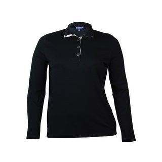 Jones New York Women's Mock Neck Button Long Sleeve Top