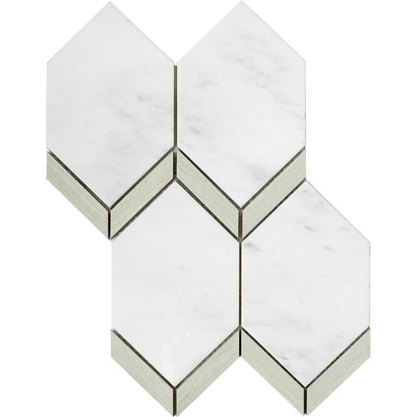 """Emser Tile W94INTR1115MPK Intrigue - 10-11/16"""" x 14-5/16"""" Deco Floor and Wall Mosaic Tile - Varied Marble Visual"""