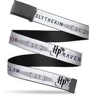 """Blank Black 1.25"""" Buckle Harry Potter Gryffindor Ravenclaw Slytherin White Web Belt 1.25"""" Wide - M"""