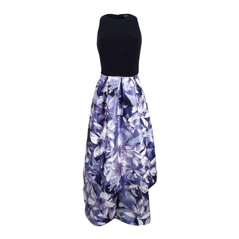 SL Fashions Women's Floral-Print High-Low Dress - Black/Lilac