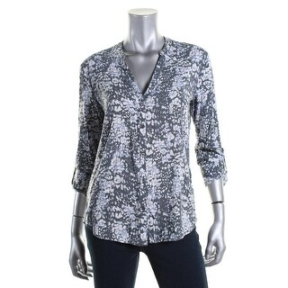Soft Joie Womens Dane Button-Down Top Printed V-Neck