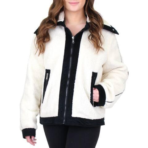 Sam Edelman Womens Short Berber Faux Fur Coat Winter Reversible - Ivory