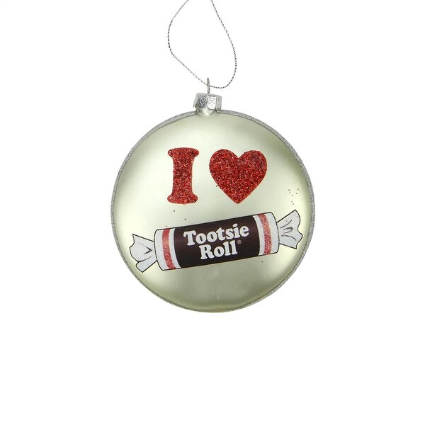 """4"""" Candy Lane Tootsie Roll Original Chewy Chocolate Candy Christmas Disc Ornament - silver"""