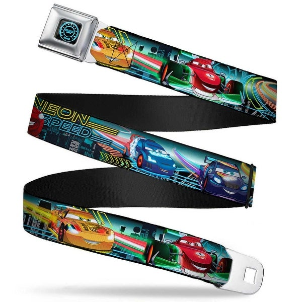 Cars Speedometer Icon Full Color Black Blue Glow Cars Lineup Neon Speed Seatbelt Belt