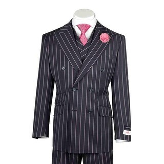 Tiglio Rosso EST Navy Blue with Salmon Stripes Wide Leg, Pure Wool Suit & Vest R7464/1