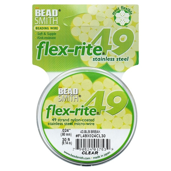 BeadSmith Flex-Rite Beading Wire, 49 Strand .024 Thick, 30 Foot Spool, Clear