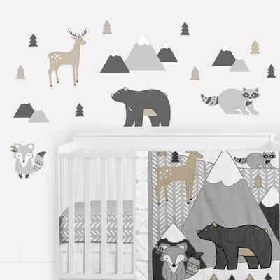 Woodland Animals Peel and Stick Wall Decal Stickers Art Nursery Decor (Set of 4) - Beige Grey Boho Mountain Forest Deer Fox Bear