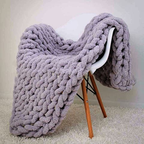 Chenille Soft Chunky Knit Blanke Bulky Throw for Cuddling up in Bed