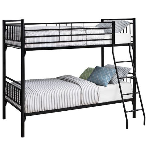 Offex Contemporary Bunk Bed - Twin - Twin Size - Detachable Black Metal