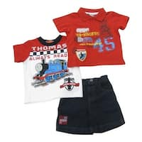 Thomas The Train Baby Boys Red Printed Tops Denim Shorts 3 Pc Outfit 12-24M