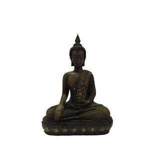 Polystone Buddha Figurine With Pointed Ushnisha, Brown