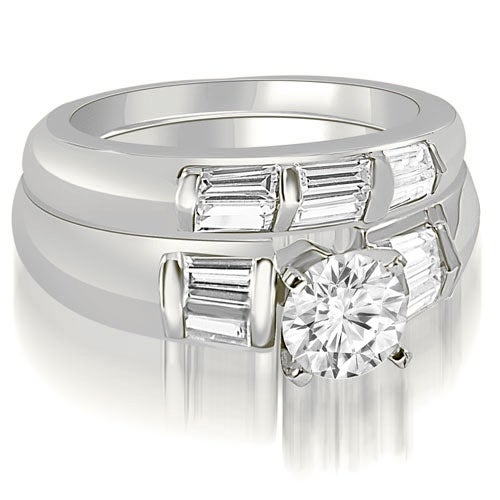 1.60 cttw. 14K White Gold Round And Baguette Cut Diamond Bridal Set