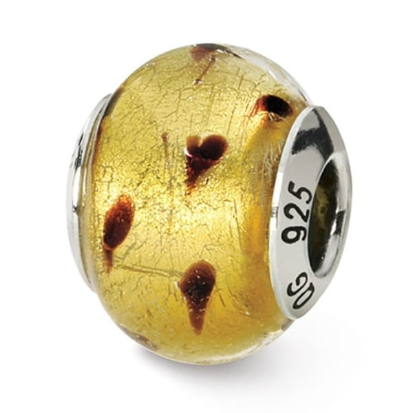 Italian Sterling Silver Reflections Gold/Brown Murano Bead (4mm Diameter Hole)