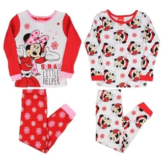 Disney Minnie Mouse Santa's Little Helper Little Girls 4-Piece Cotton Pajama Set