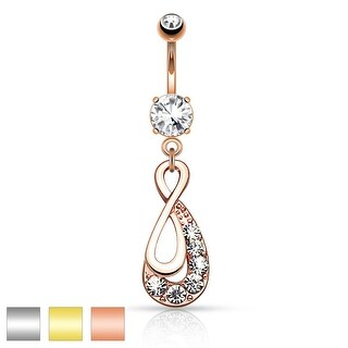 Infinity Drop with Paved Gems Dangle Navel Ring