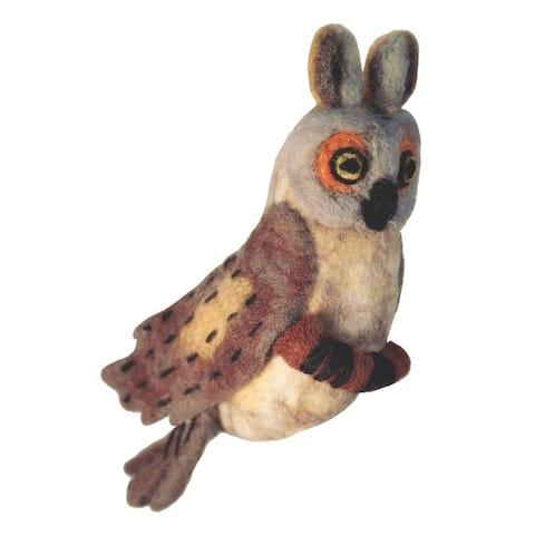 Handmade Wild Woolies Felt Bird Garden Ornament - Great Horned Owl (Nepal)