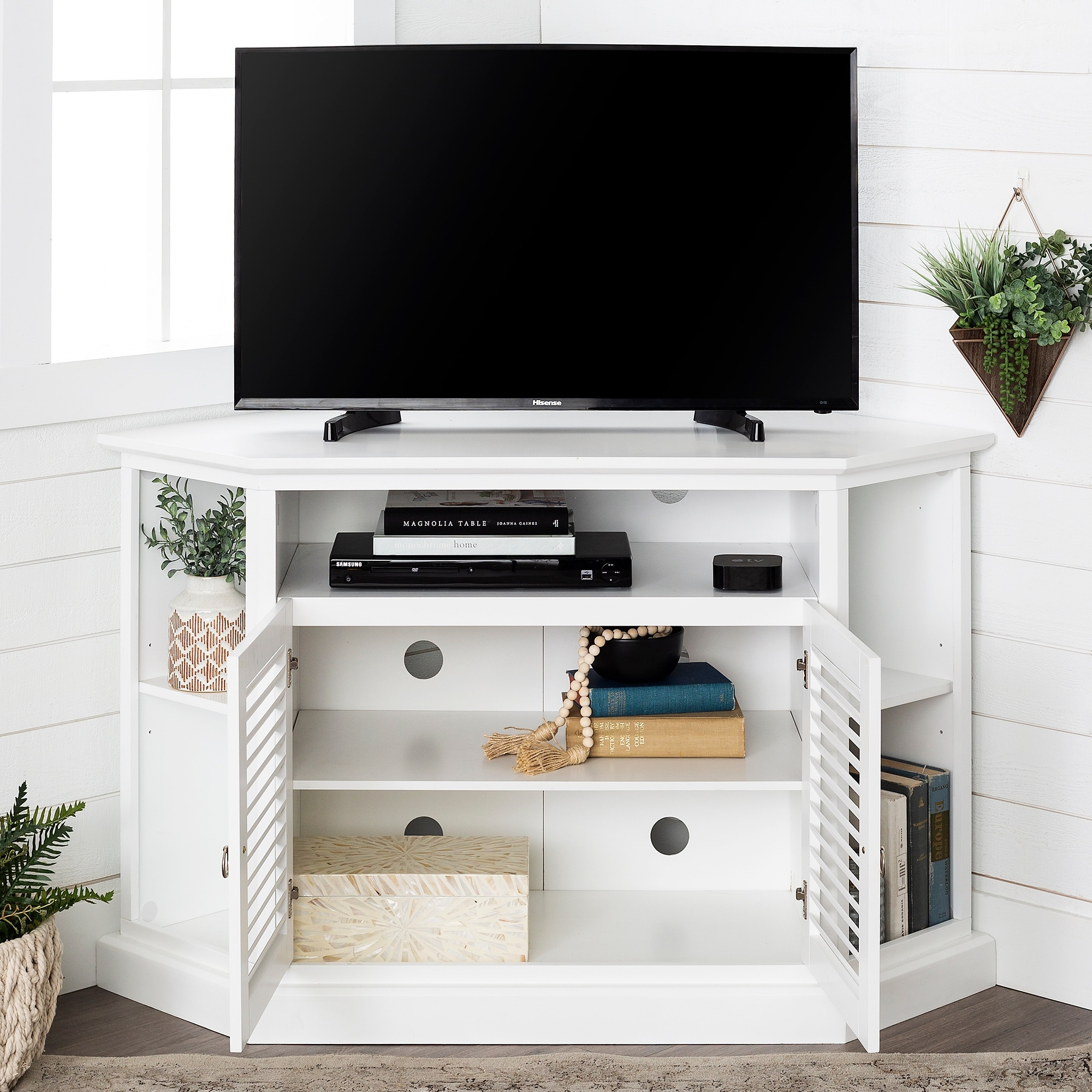 Copper Grove Cardinal 52 Inch White Corner Tv Stand Console On Sale Overstock 20639240