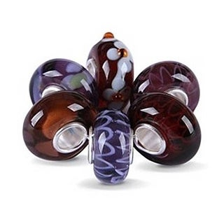Bling Jewelry Set of Six Bundle Assorted Purple Murano glass Lampwork Bead Charm 925 Sterling Silver