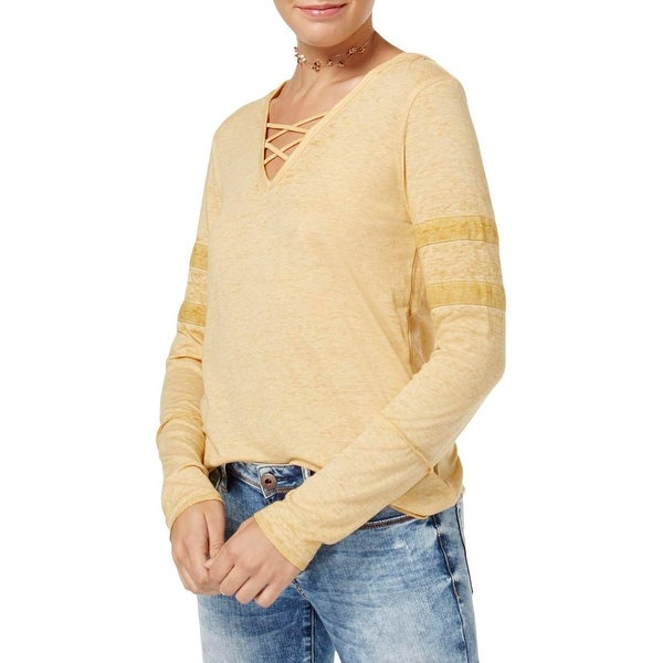 Planet Gold Womens Criss-Cross Front Long Sleeves Hoodie