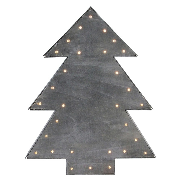 "17"" Small Lighted Grey Tree Christmas Table Top Decoration"
