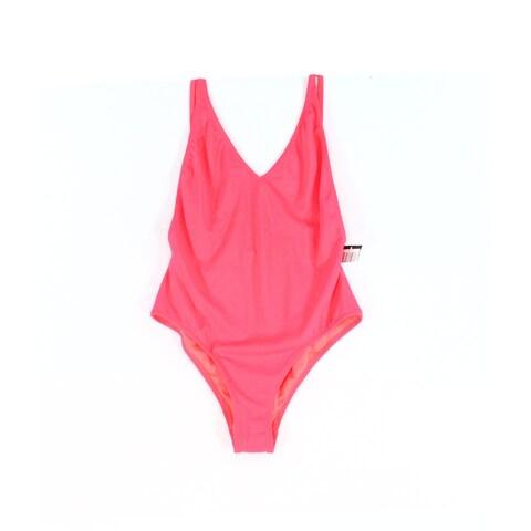 Topshop Pink Womens Size 8 Sleeveless One-Piece Solid Swimwear