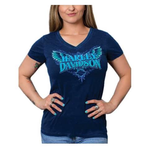Harley-Davidson Women's Winged H-D V-Neck Short Sleeve Poly-Blend Tee, Blue