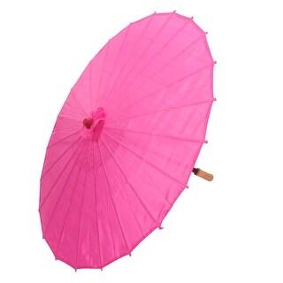 Unique Bargains Japanese Asian Traditional Manually Bamboo Dancing Umbrella  Parasol 78cm Fuchsia