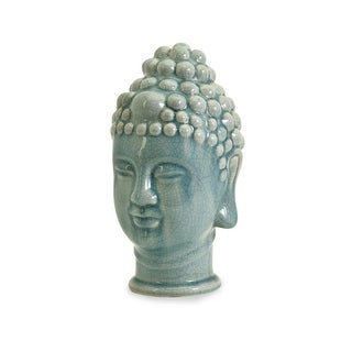 "11.5"" Decorative Crackle Gloss Finish Ceramic Buddha Head Table Top Figure"