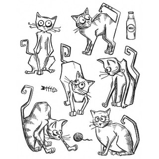 "Tim Holtz Cling Stamps 7""X8.5""-Crazy Cats"