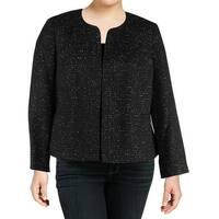 Nine West Black Womens Size 14W Plus Sequin Tweed Open Front Jacket