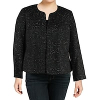 Nine West Black Womens Size 14W Plus Sequined Open Front Jacket