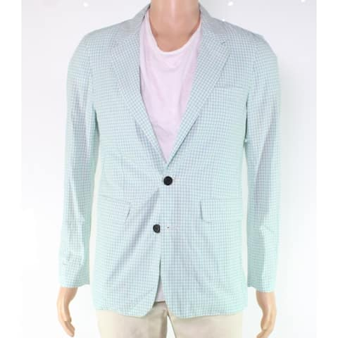 Burberry Mens Jacket White Green Size 52R Gingham Blazer Two-Button