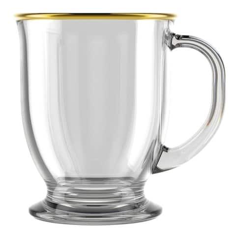 STP Goods 15 fl oz Gold Border Glass Mug Set of 2