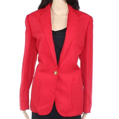 Lauren by Ralph Lauren Womens Blazer Red Size 10 Linen Lapel Jacket