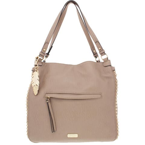 Jessica Simpson Womens Camile Tote Handbag Faux Leather Studded - Natural - Large