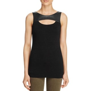Bailey 44 Womens Casual Top Faux Leather Cutout