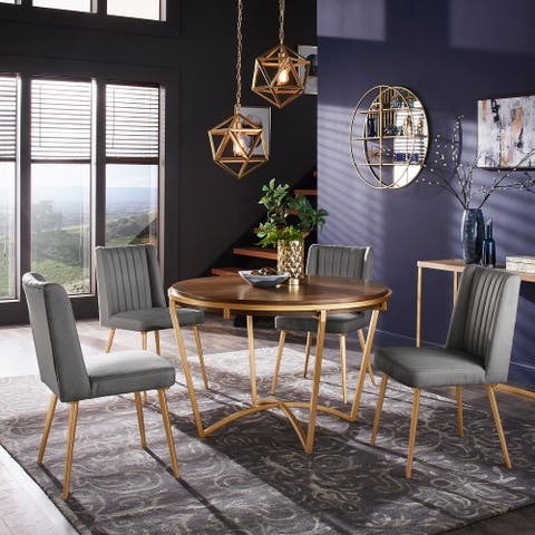 Vanderson Natural Wood and Gold Dining Set by iNSPIRE Q Modern