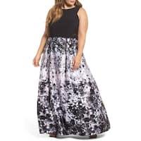Xscape Black Women's Size 18W Plus Floral Mesh Trim Sheath Dress