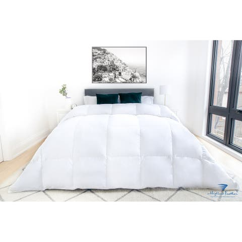 Highland Feather 750 Loft Hungarian White Goose Down Mostar Duvet/Comforter 500TC Casing with Corner Ties