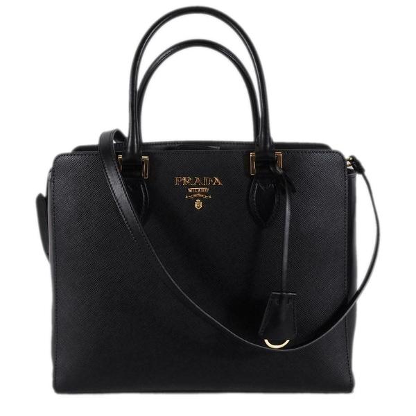 53e92db826a0 Prada 1BA189 Black Saffiano Leather Plaque Logo 2-Way Purse Handbag Tote