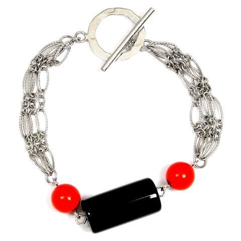 Onyx Sterling Silver Ball Fancy Bracelet by Orchid Jewelry