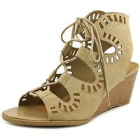 MADELINE girl Morning Glory Women Open Toe Canvas Wedge Sandal - 8