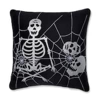 "17"" Frightfully Fun Skeleton and Spider Web Decorative Halloween Throw Pillow - Silver"