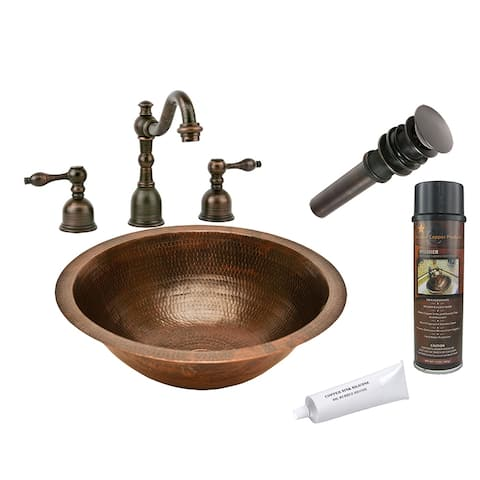 Premier Copper Products BSP2_LR17FDB Bathroom Sink, Widespread Faucet and Accessories Package