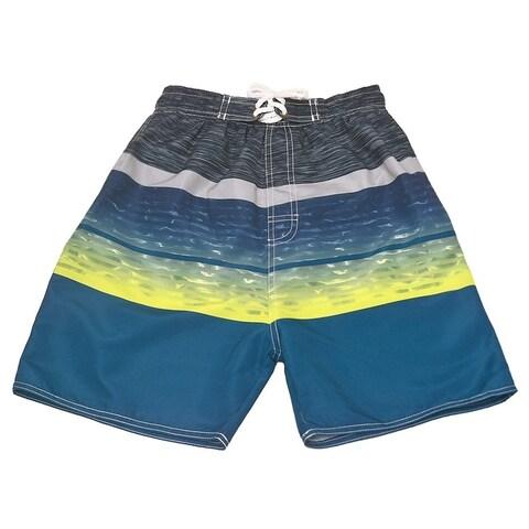 Quad Seven Little Boys Neon Yellow Blue Wavy Pattern Swimwear Trunks