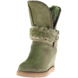 Australia Luxe Womens Hatchet Sheepskin Buckled Wedge Boots