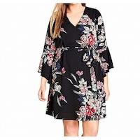 318e1aa4e6 Shop City Chic Black Womens Size 24W Plus Tie-Waist Floral Maxi ...