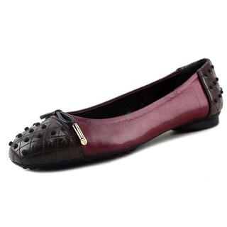 Tod's Dew Ballerina Gommini Women Round Toe Leather Burgundy Ballet Flats