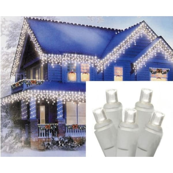 Set of 70 Pure White LED Icicle Christmas Lights - White Wire - CLEAR