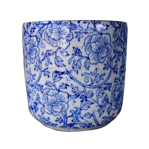 "Hand Pressed Old World Ceramic Blue and White Flower Pattern Cylindrical Round planters or Garden pots - 7.25"" x 7.2"""